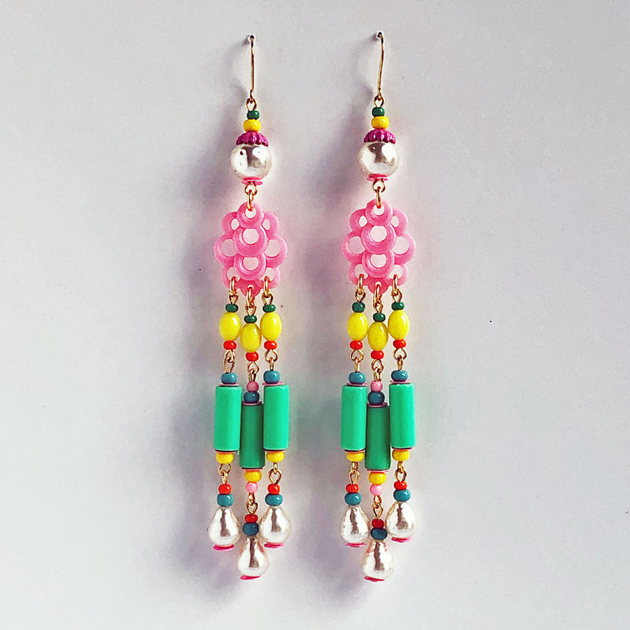 Pink Cloud Triple Drop Earrings