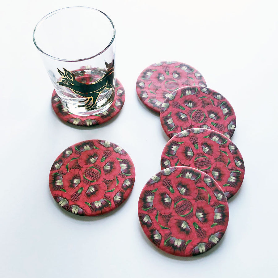 Pink Trumpet Flower Coaster Set
