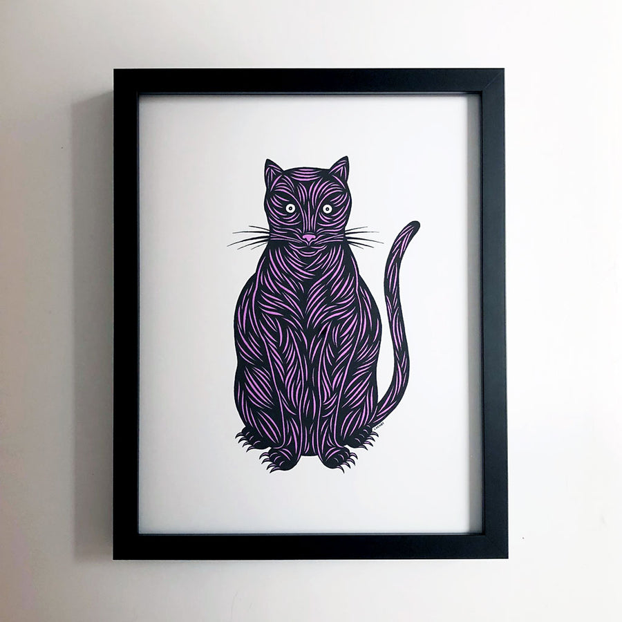 Don Carney Sitting Cat Pink Art Print {DCP02}