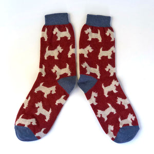 Women's Lambswool Socks Scottie Dogs