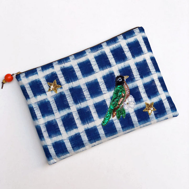Sequin Green Bird Applique on Blue & White Bag