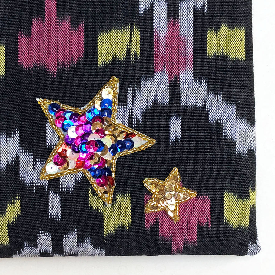 Sequin Star Applique on Pink, Black, Yellow & Grey Bag