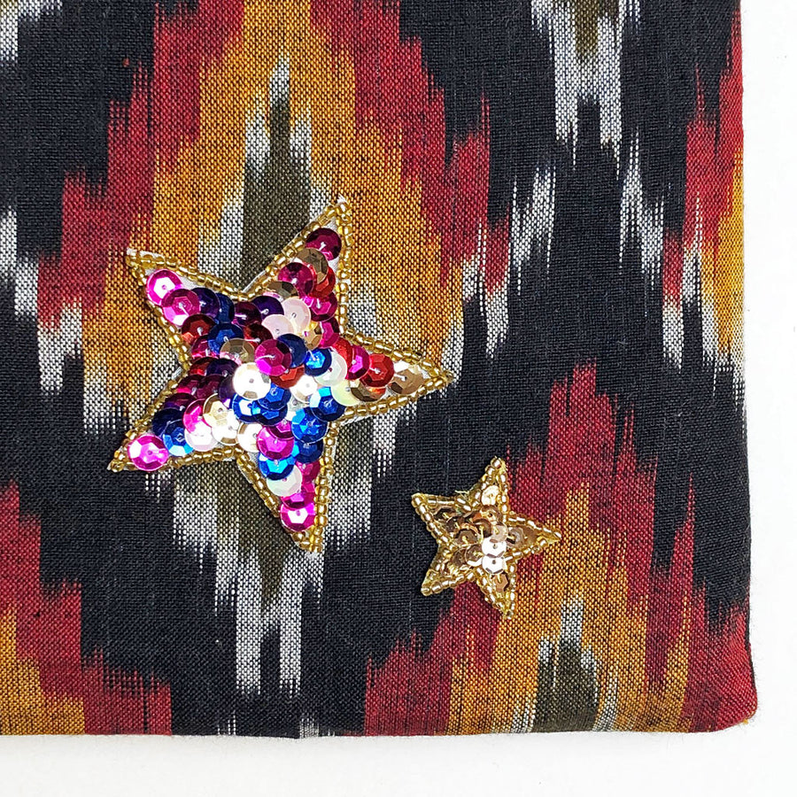 Sequin Star Applique on Red, Black, Orange, Green & Grey Bag