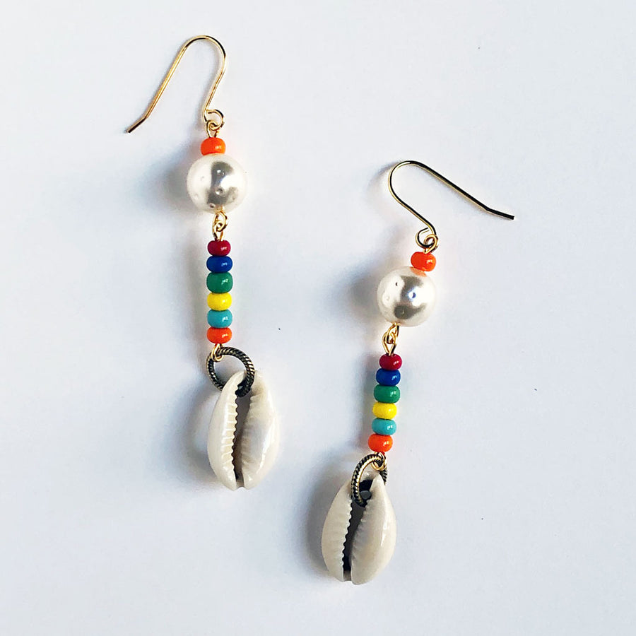 Pearl & Shell Rainbow Earrings