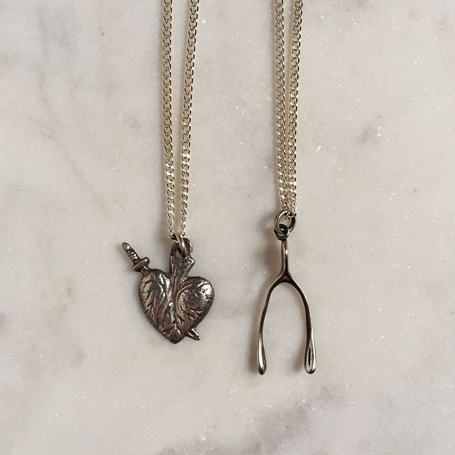 Heart and Wishbone Necklace {CCN02}