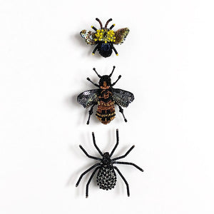Bee, Fly & Spider Embroidered Pins