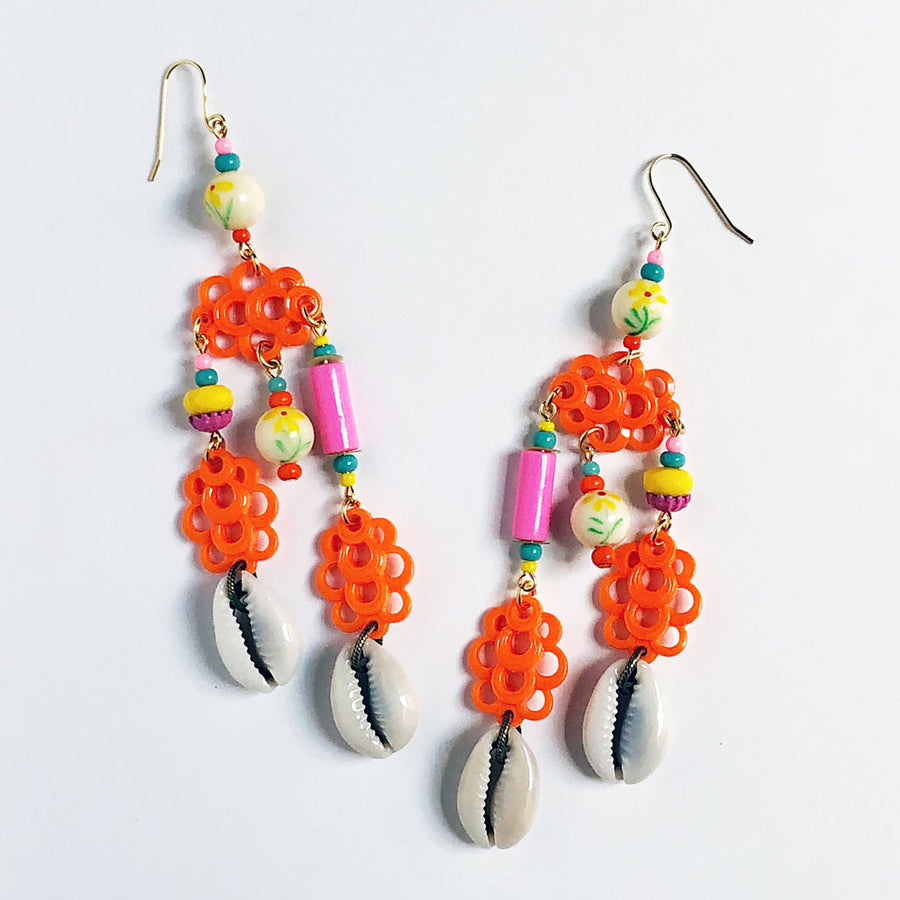 Three Orange Clouds Earrings