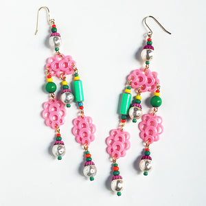 Three Pink Clouds Earrings
