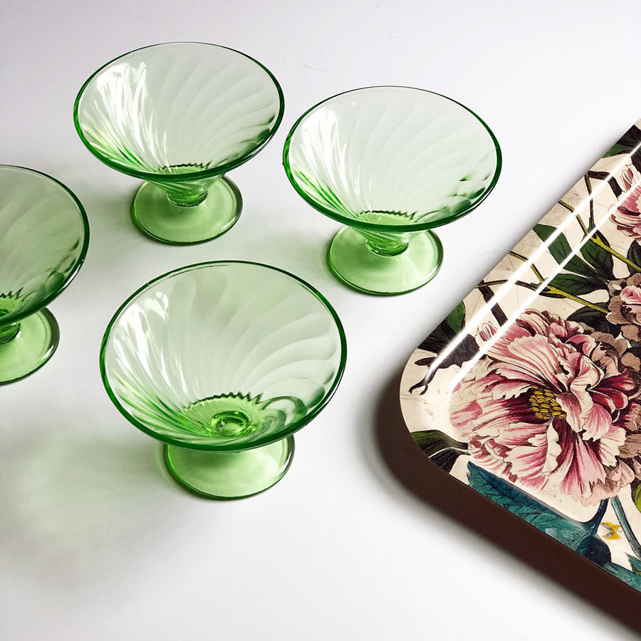 Vintage Drinking Glasses Green Martini (Set of 4)