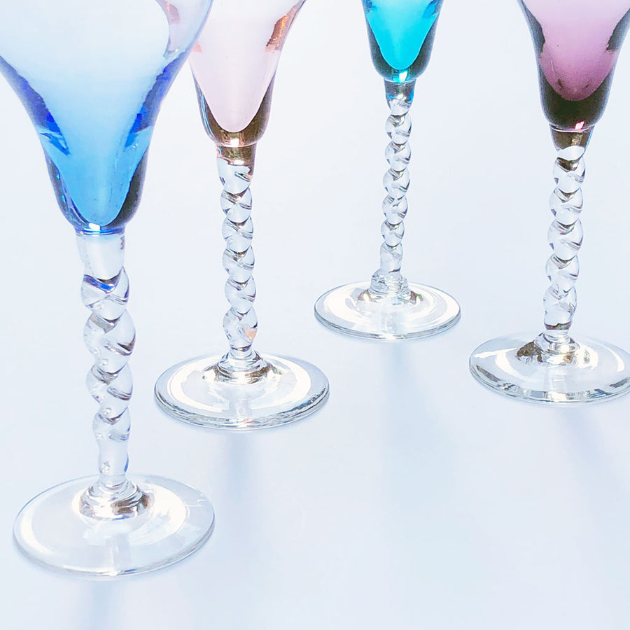 Vintage Drinking Glasses Multi Color (Set of 4)