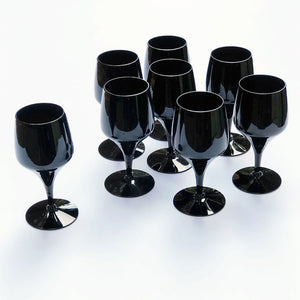 Vintage Drinking Glasses Dark Brown Black (Set of 8)
