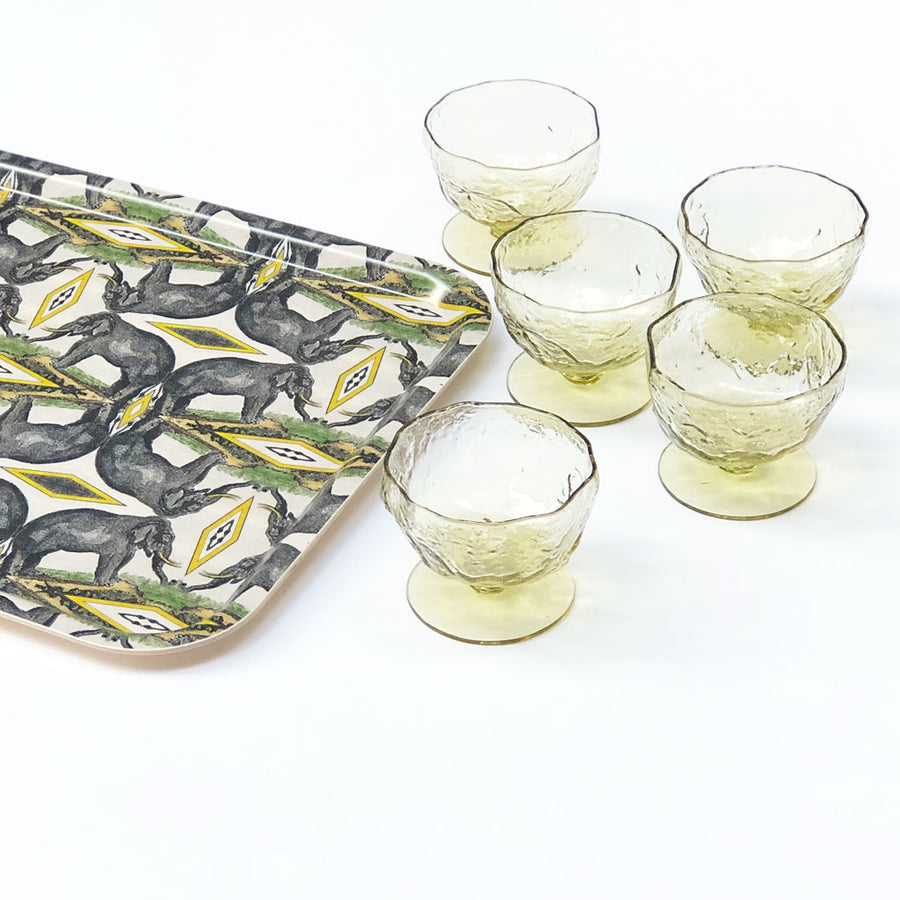 Vintage Drinking Glasses Textured Yellow (Set of 6)