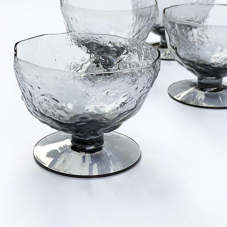 Vintage Drinking Glasses Textured Grey (Set of 6)