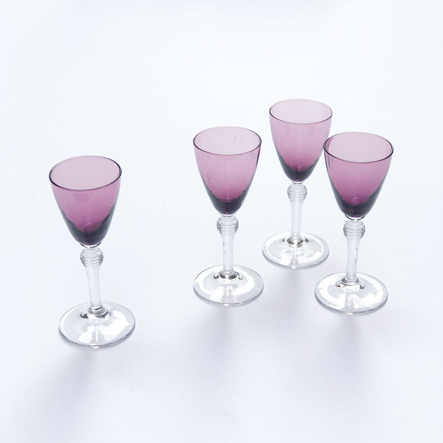 Vintage Drinking Glasses Purple Cordial (Set of 4)