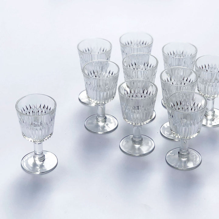 Vintage Drinking Glasses Clear (Set of 10)