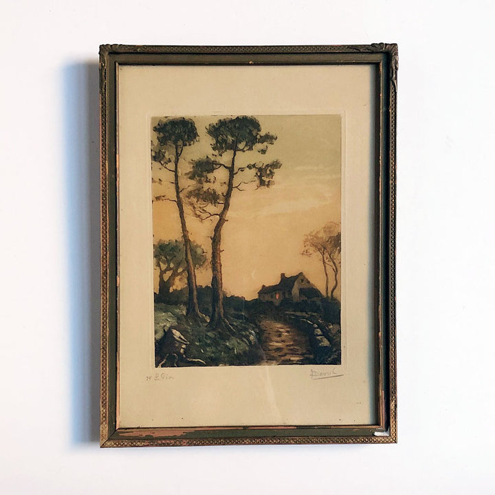 Landscape Etching by Louis Davril Vintage Art