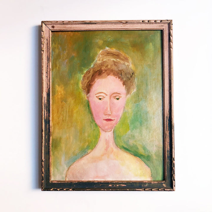 Portrait of a Woman in Pink Frame Vintage Art