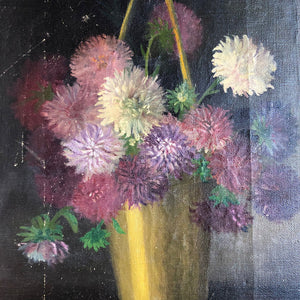 Mixed Flowers in Vase with Handle Vintage Art