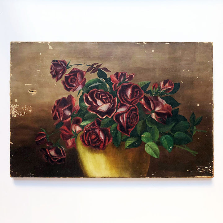 Red Roses in Vase Vintage Art