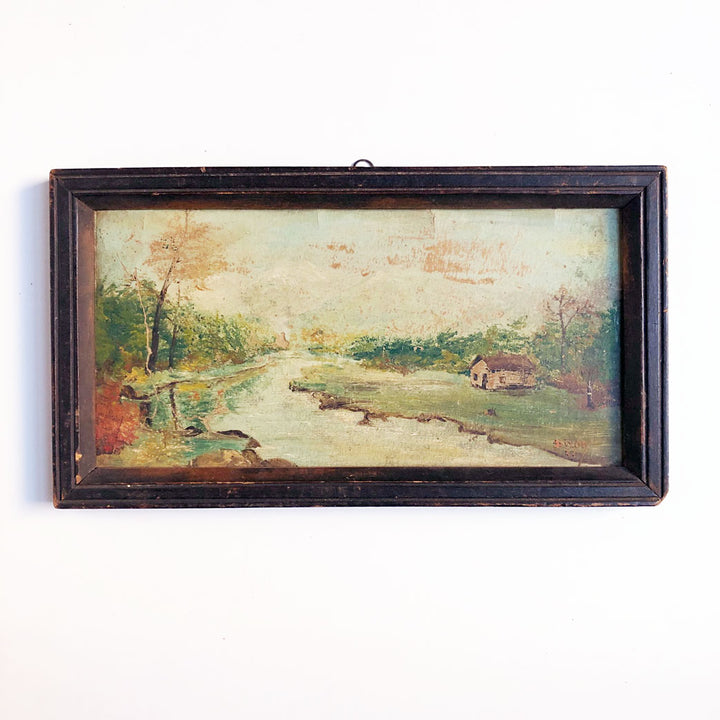 Landscape with Cabin Vintage Art