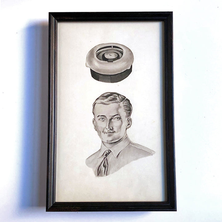 Watercolor Man & Floating Object Vintage Art
