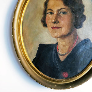 Oval Portrait of a Woman Vintage Art