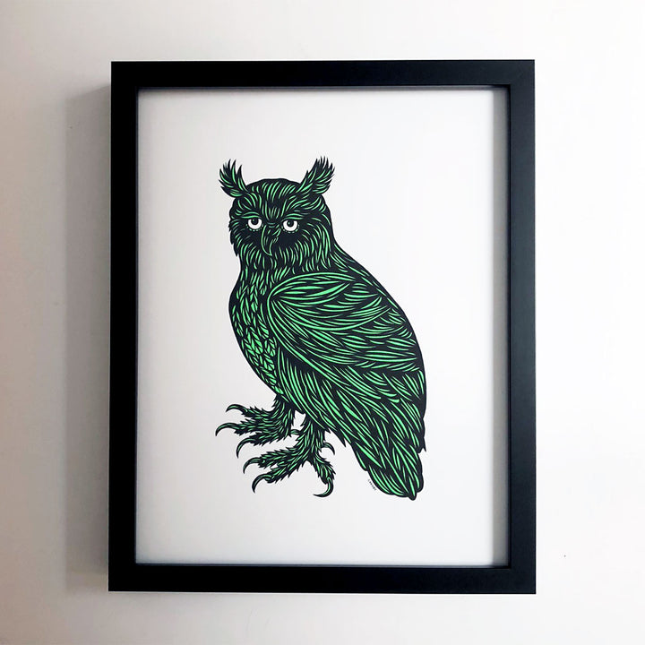 Don Carney Wise Owl Kelly Green Art Print {DCP03}