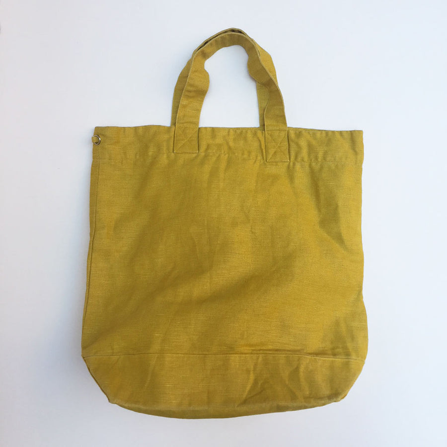 Washed Linen Yellow Tote {PT003}