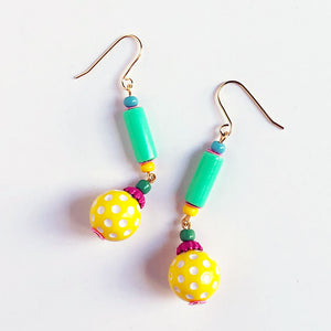 Yellow Polka Dot Earrings