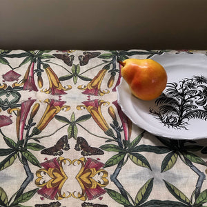 PATCH NYC Yellow Trumpet Flower Linen Tablecloth