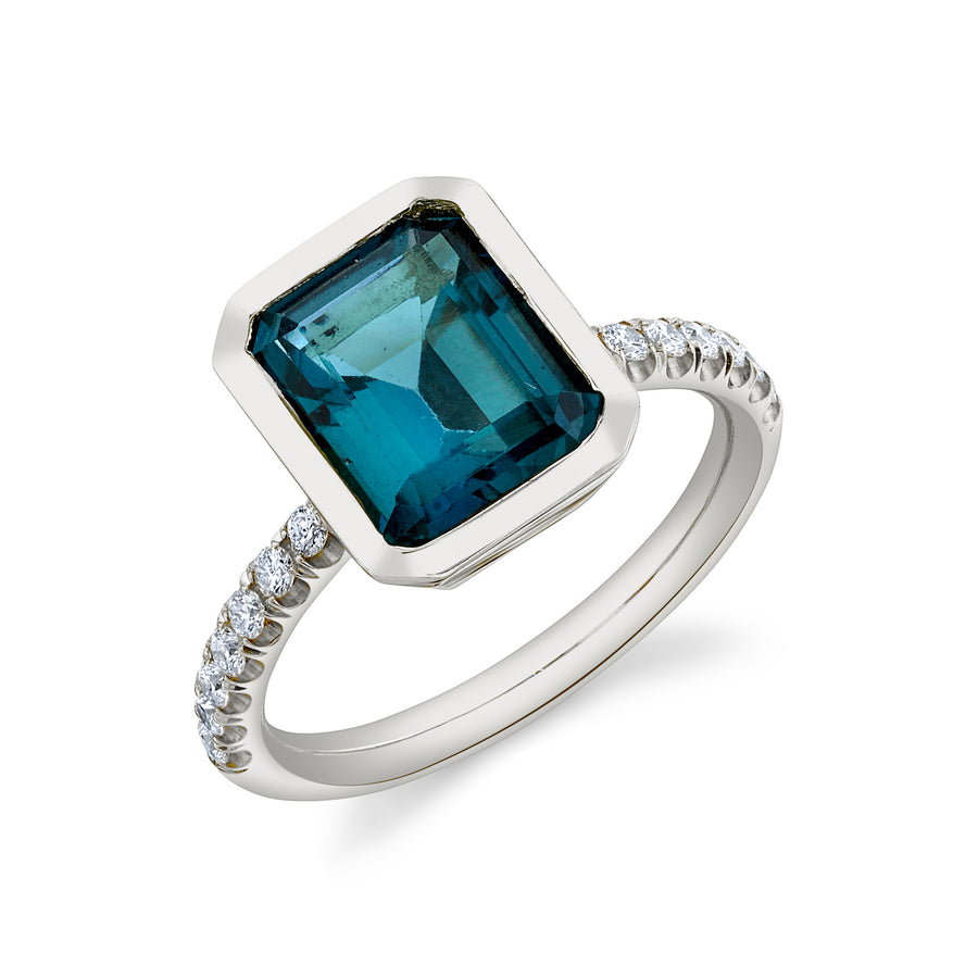 Pave Shirley Bezel Set Emerald Cut Ring