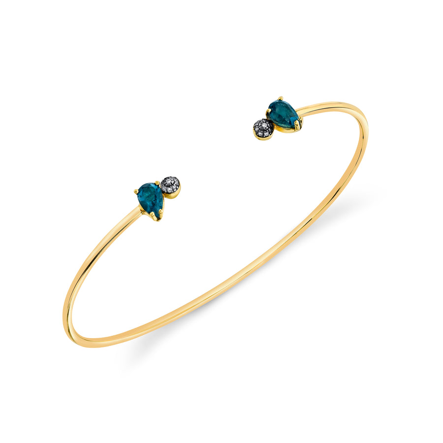 Pear and Pave Ball Bangle - London Blue Topaz