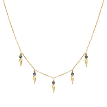 5 Point Pave Center Spear Collar Necklace