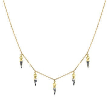 5 Point Pave Spear Tip Collar Necklace - Diamond
