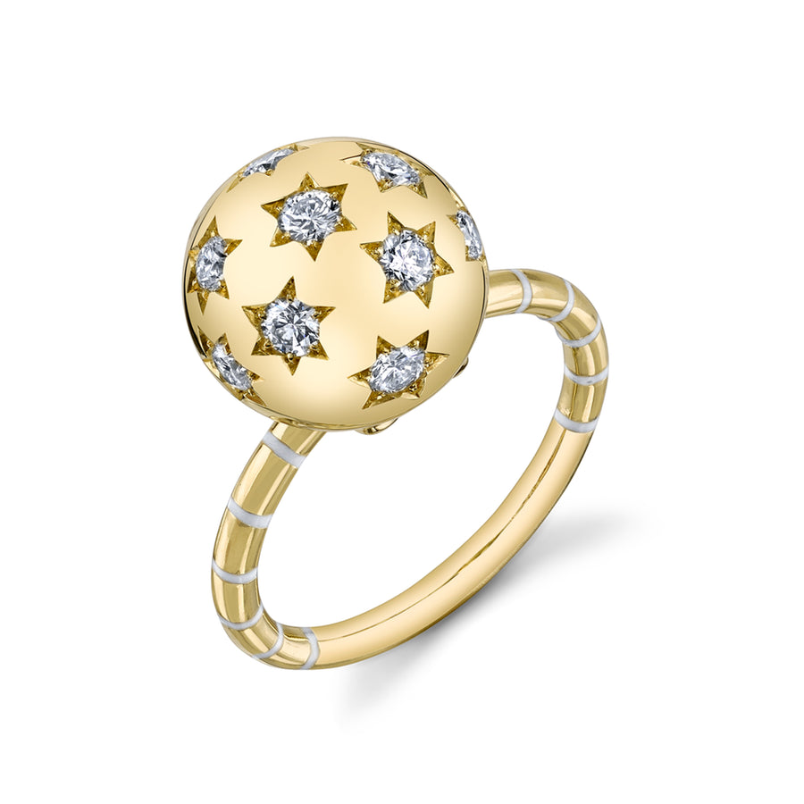 Ethel Ball Ring with Striped Enamel Band - Diamond