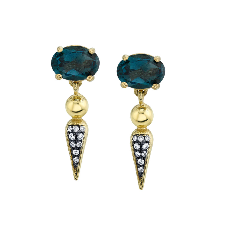 Pave Spear Tip Dangle Studs
