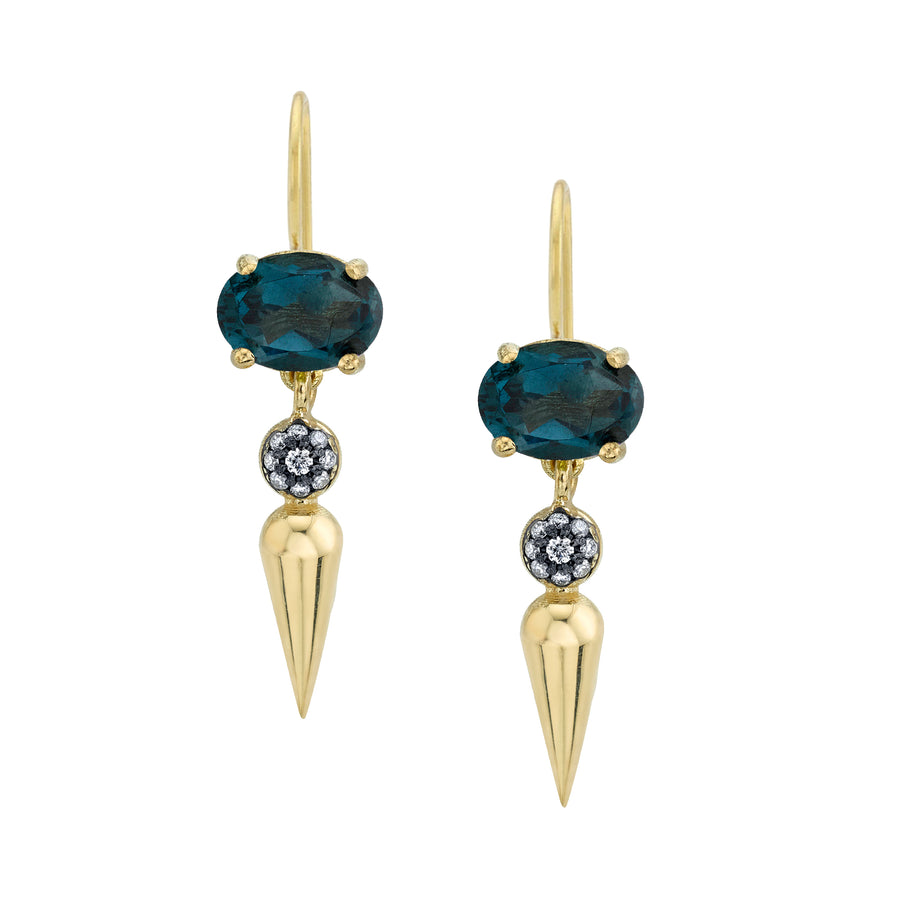 Pave Center Spear Dangle Studs With Custom Ear Wire - London Blue Topaz