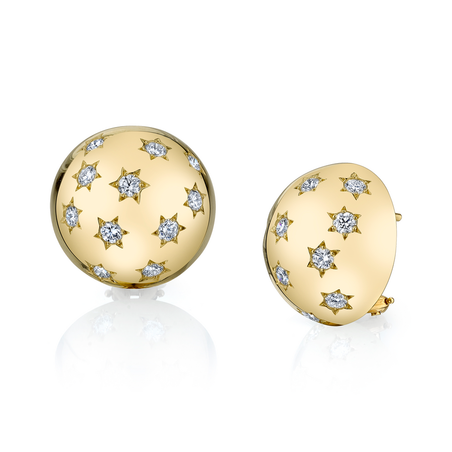 Diamond Ethel Button Earrings