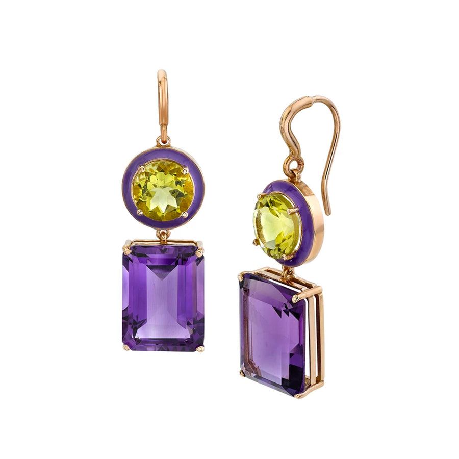 Large Gaga Enamel Gemstone Earrings