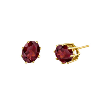 8 Prong Oval Gemstone Studs