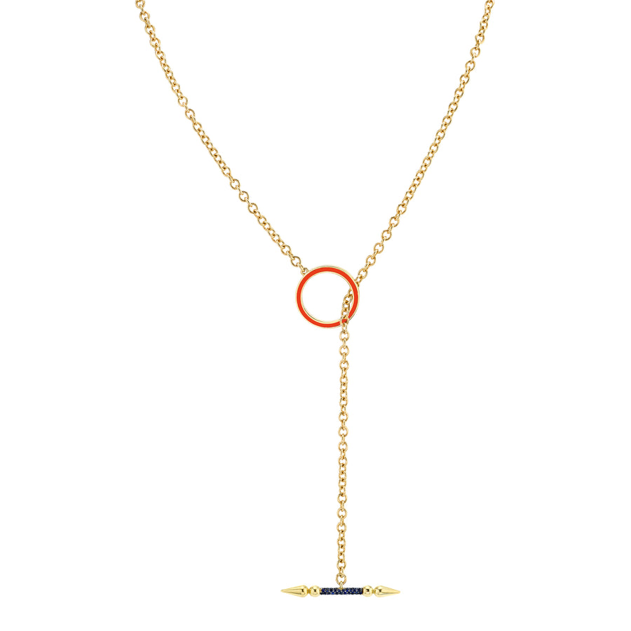 Convertible Pave Spear Lariat with Round Enamel Toggle Closure