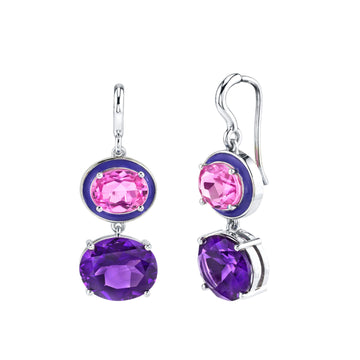 Double Oval Gem Earrings - Pink Topaz/Purple Amethyst