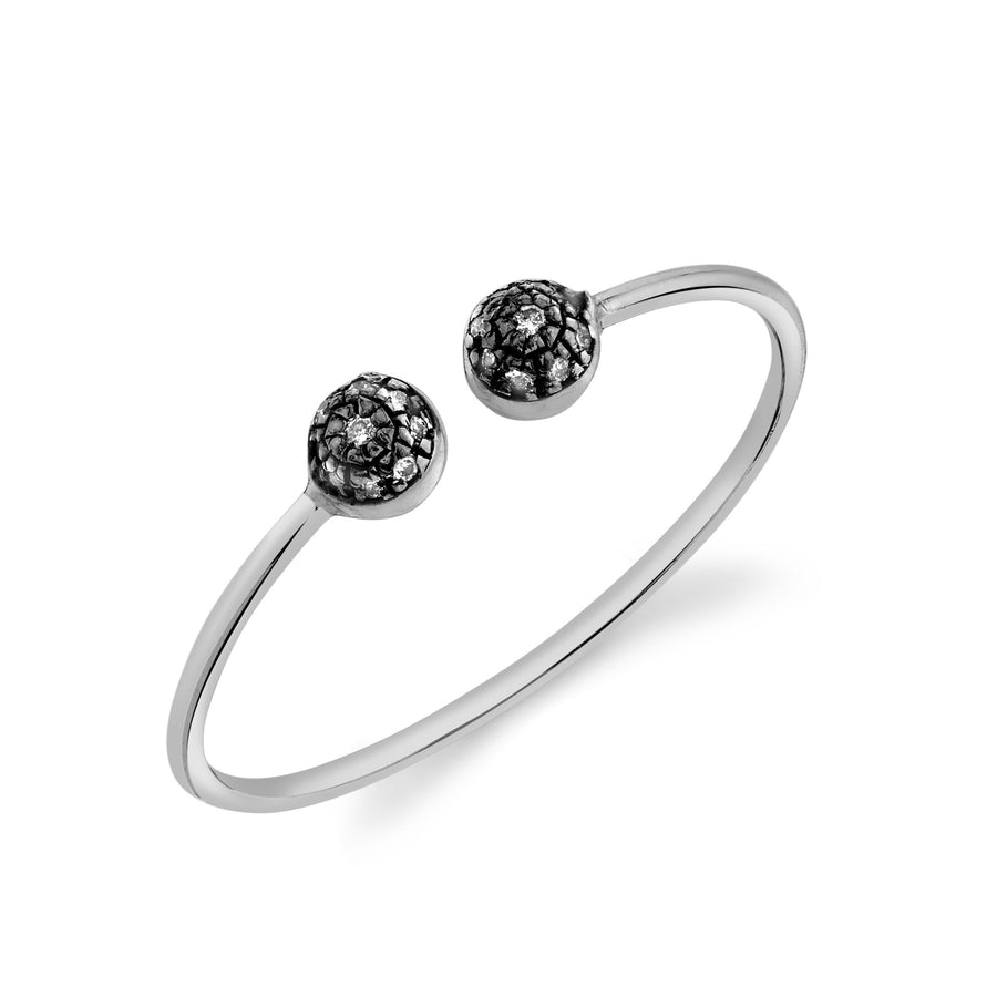 Double Pave Ball Open Top Stacking Ring - Diamond