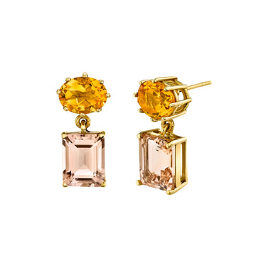 East West Mash Up Earrings - Citrine/Morganite