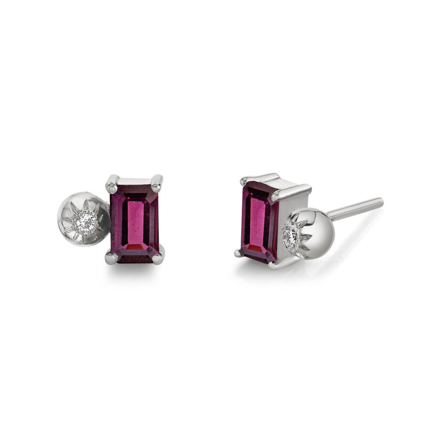 Emerald Cut Gemstone & Diamond Starburst Studs
