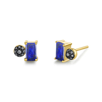 Emerald Cut Gemstone & Pave Ball Studs