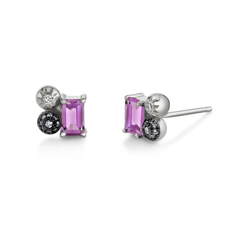 Emerald Cut Gemstone Mash Up Studs