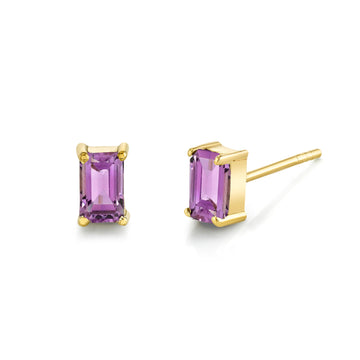 Emerald Cut Gemstone Studs