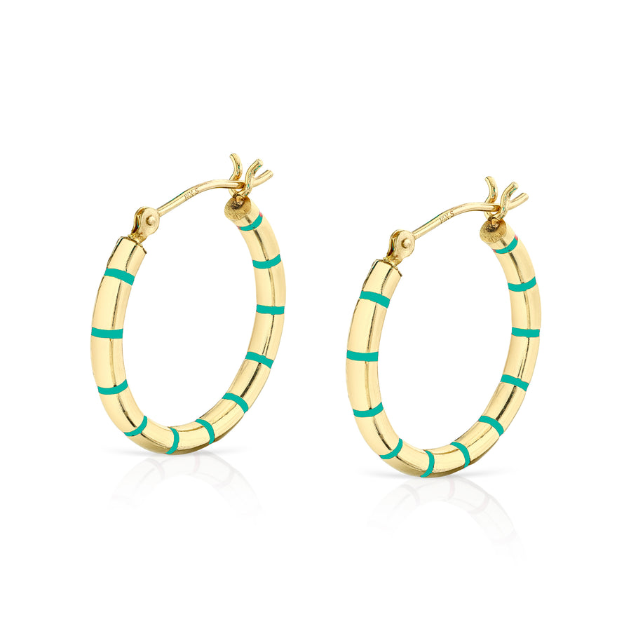 Enamel Striped Hoops