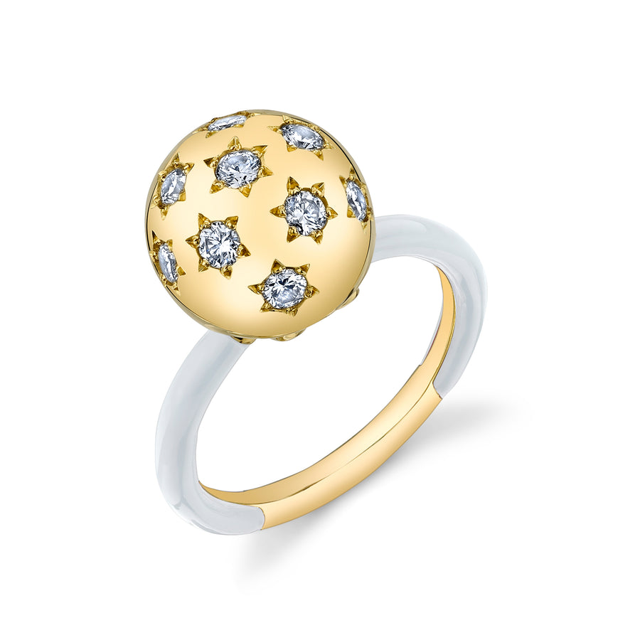 Ethel Ball Ring with Solid Enamel Band - White Diamond